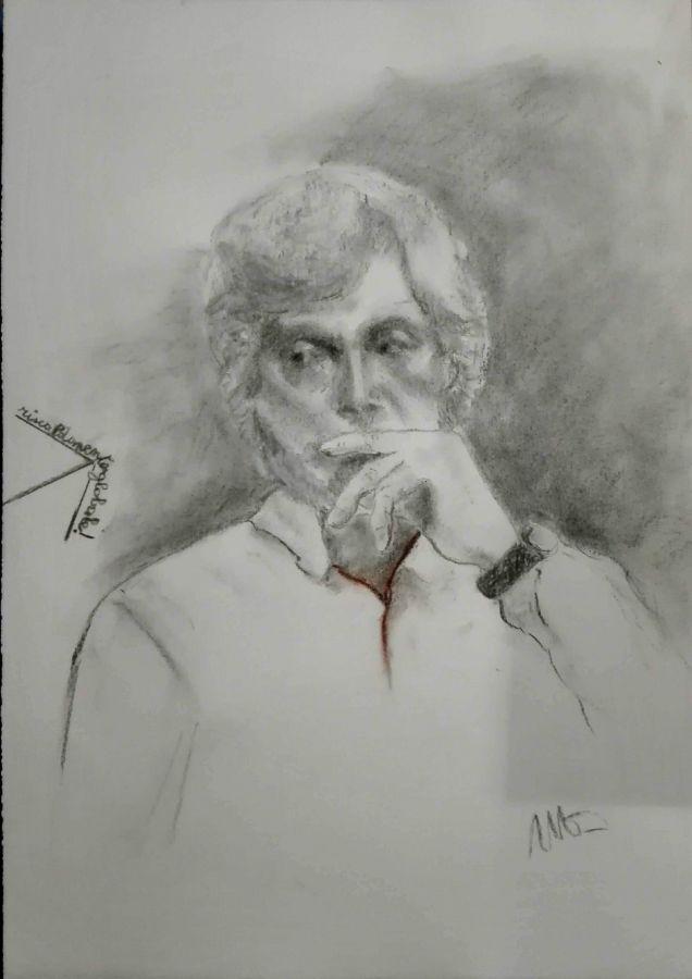 Alfredo carboncino, gesso 50x35