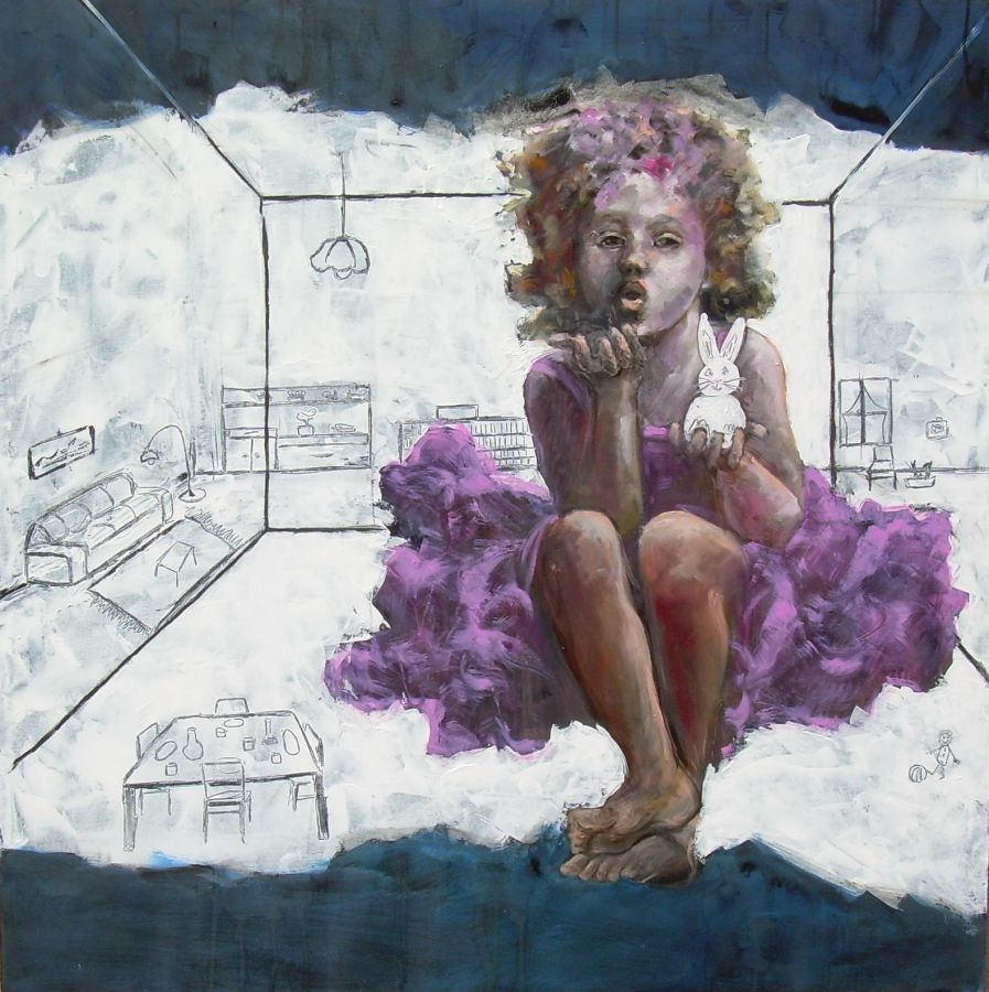 Alice  tecnica mista  100x100  2011