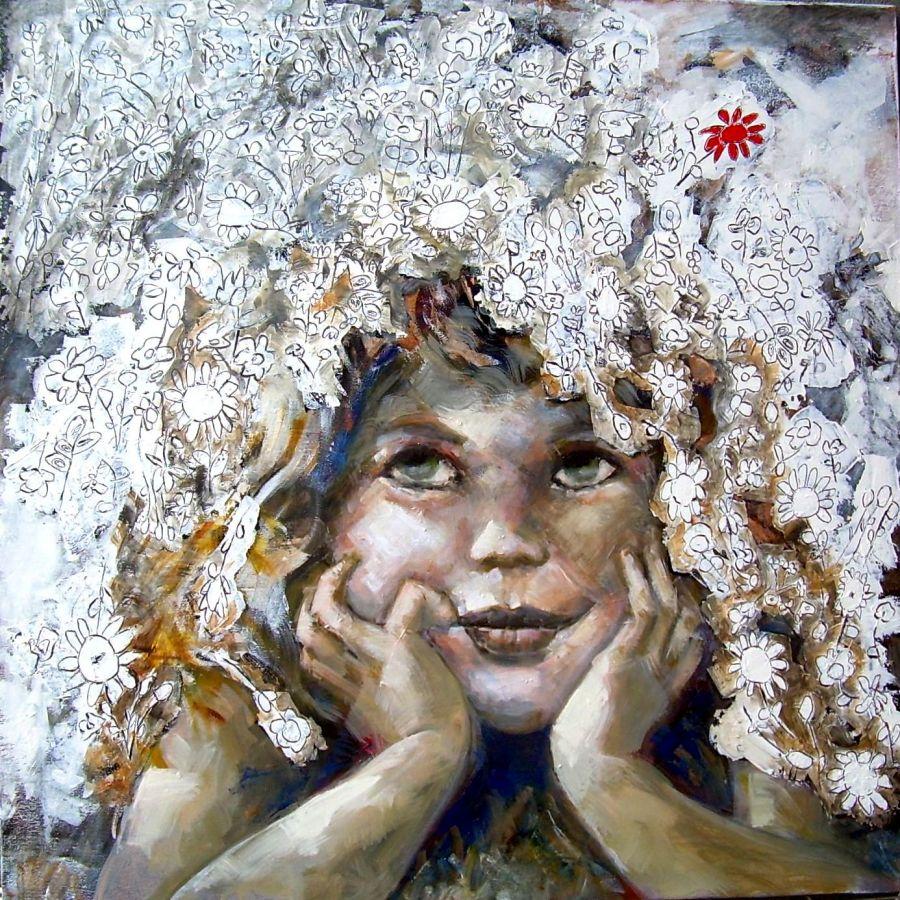 Chi porta fiori porta amore  tecnica mista  80x80  2013