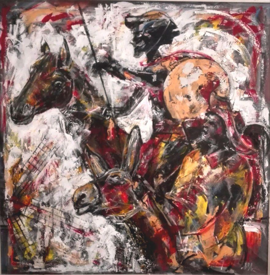 Don Quijote e Sancho Panza-Elogio della fantasia   acrilico gesso  100x100  2016
