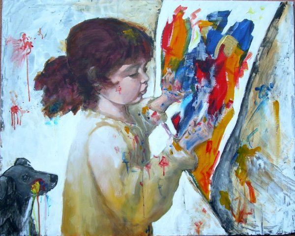Giochiamo a pittore?  tecnica mista  80x100  2014