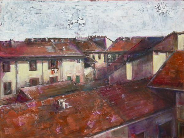 I miei tetti  tecnica mista  60x80  2011