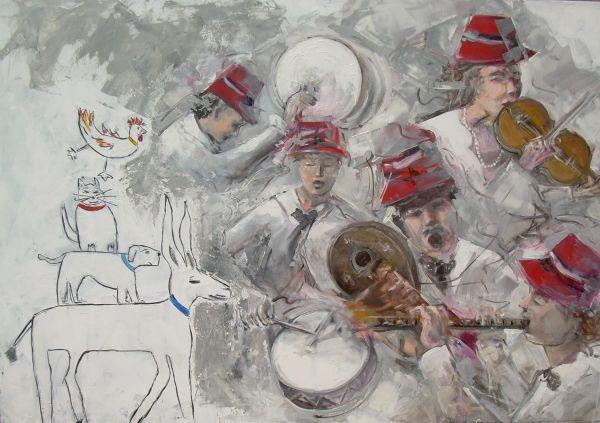 I musicanti di Brema  tecnica mista  70x100  2011
