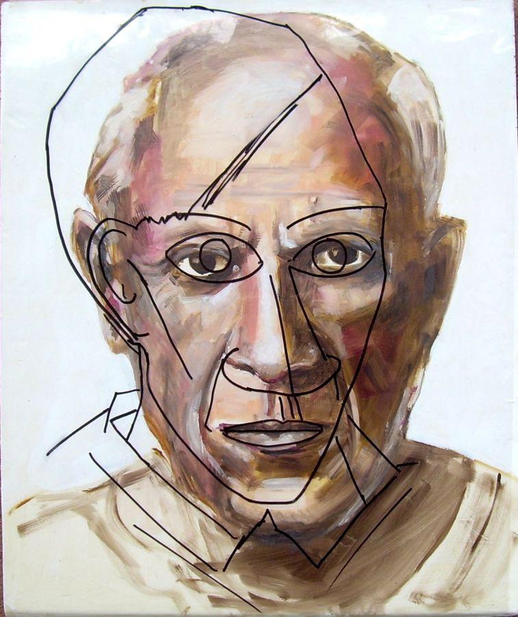 Picasso  olio acrilico su estruso con autoritratto in trasparenza  50x60  2015