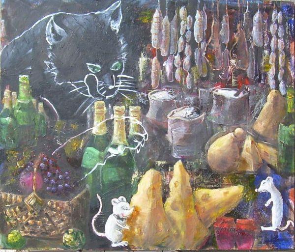 Il topo di città e il topo di campagna  olio  60x70  2012
