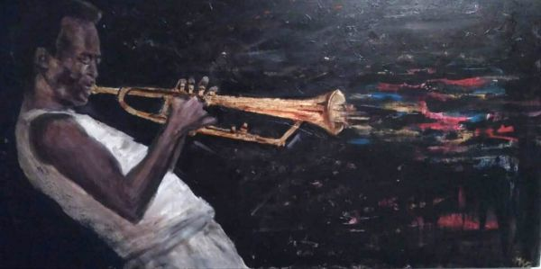 Miles Davis armonia, equilibrio, colore olio acrilico foglia d'oro 50x100 2018