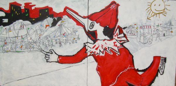 Pinocchio al paese dei balocchi  tecnica mista 2x70x70  2011.