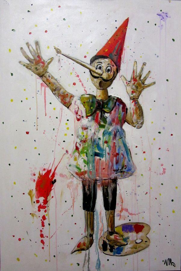 Salvador Pinocchio olio acrilico gesso 120x80 2019