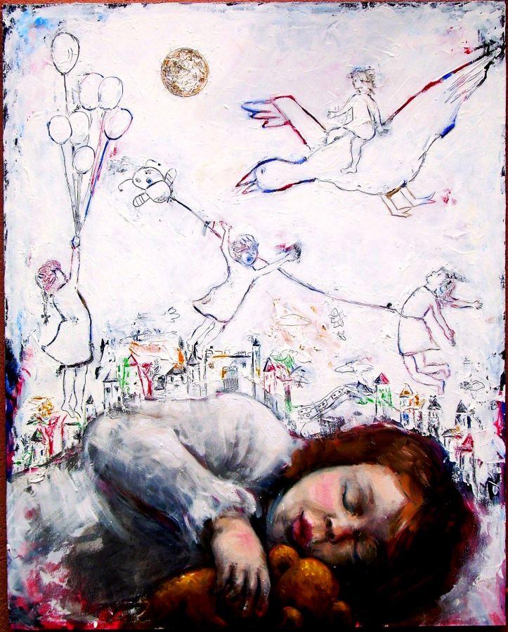 Sogno in una notte di luna piena  tecnica mista  100x80  2014